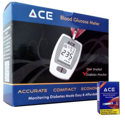 Click to know more ACE Glucometer Kit with Test Strips